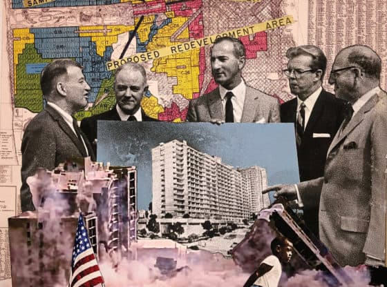 A collage featuring colored images of historic maps, photographs of buildings, and political figures standing together in conversation.