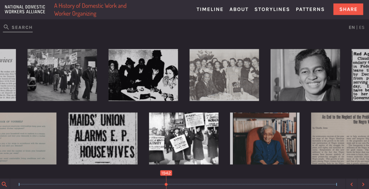 A screenshot of a digital timeline that features images of several historical photographs and clippings from newspapers and periodicals.