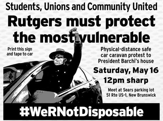"""A black-and-white flyer advertising a protest demanding that """"Rutgers must protect the most vulnerable."""""""